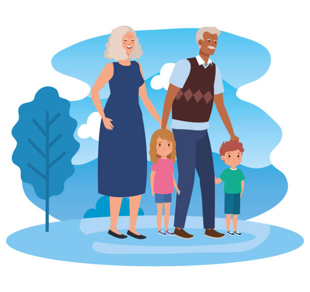 ilustraciones, imágenes clip art, dibujos animados e iconos de stock de abuelos lindos con su niño y niña niño - nietos
