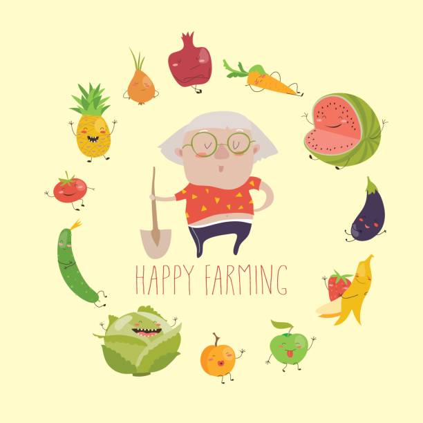 illustrazioni stock, clip art, cartoni animati e icone di tendenza di cute granny farmer with funny vegetables - mercato frutta donna