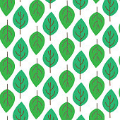 Cute graphic seamless pattern green leaves on white background,vector illustration