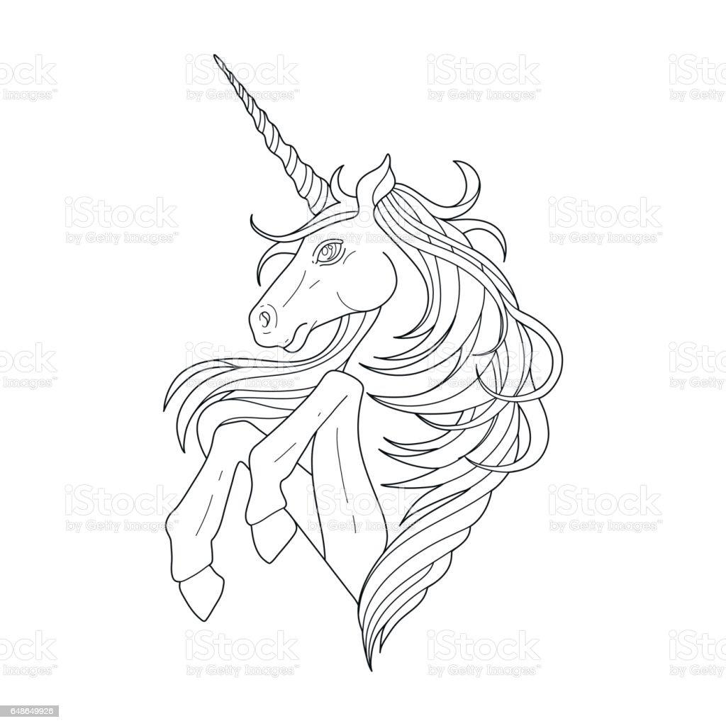 Cute graphic unicorn vector art illustration