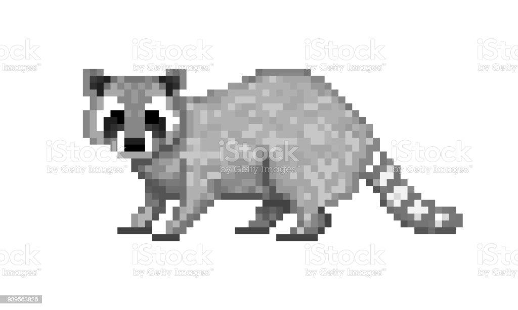 Cute Gray Common Raccoon Pixel Art Symbol Isolated On White