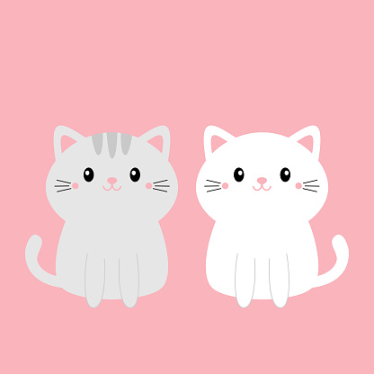 Cute gray white cat kitty kitten set. Kawaii cartoon character. Smiling face, tail. Happy Valentines Day. Baby greeting card tshirt notebook cover print. Pink background. Flat design