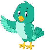Cute green bird cartoon