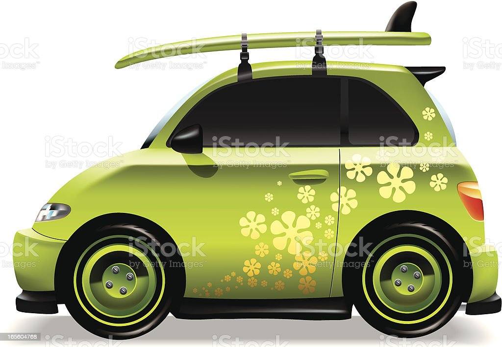 Cute green car with surf board royalty-free stock vector art
