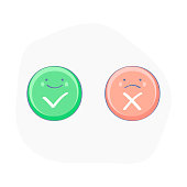 Cute Green checkmark OK and red X icons - Vector Illustration