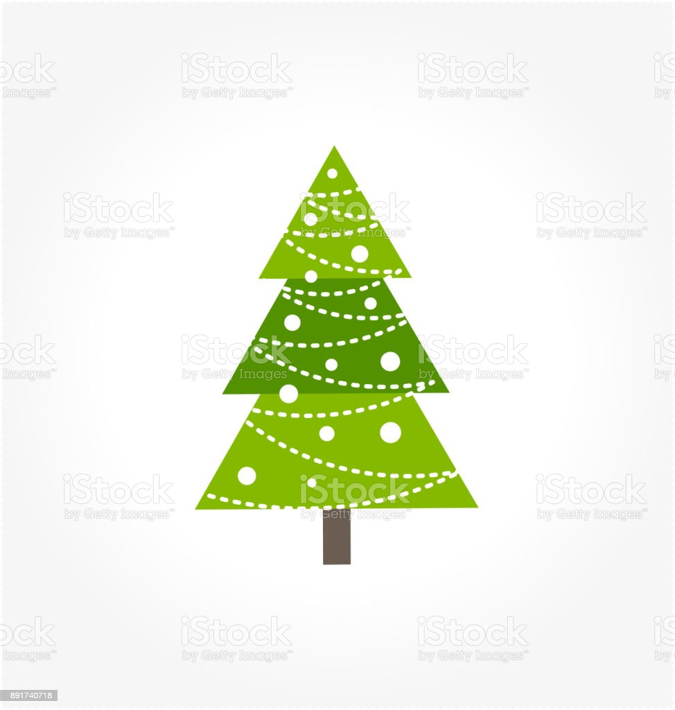 Cute Green Christmas Tree Icon Stock Vector Art & More Images of ...