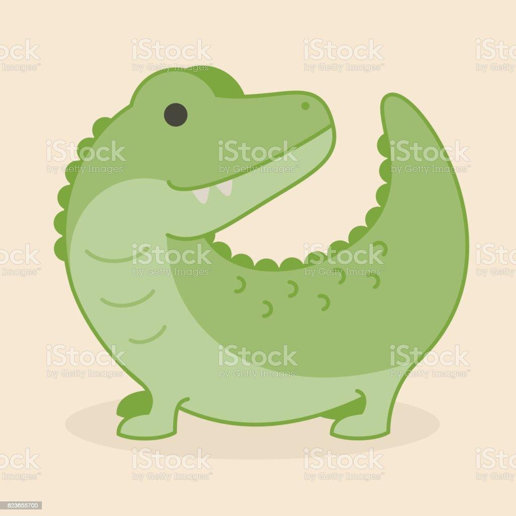 ベクトル図を笑顔かわいい緑のワニ ワニ動物 のイラスト素材 823655700