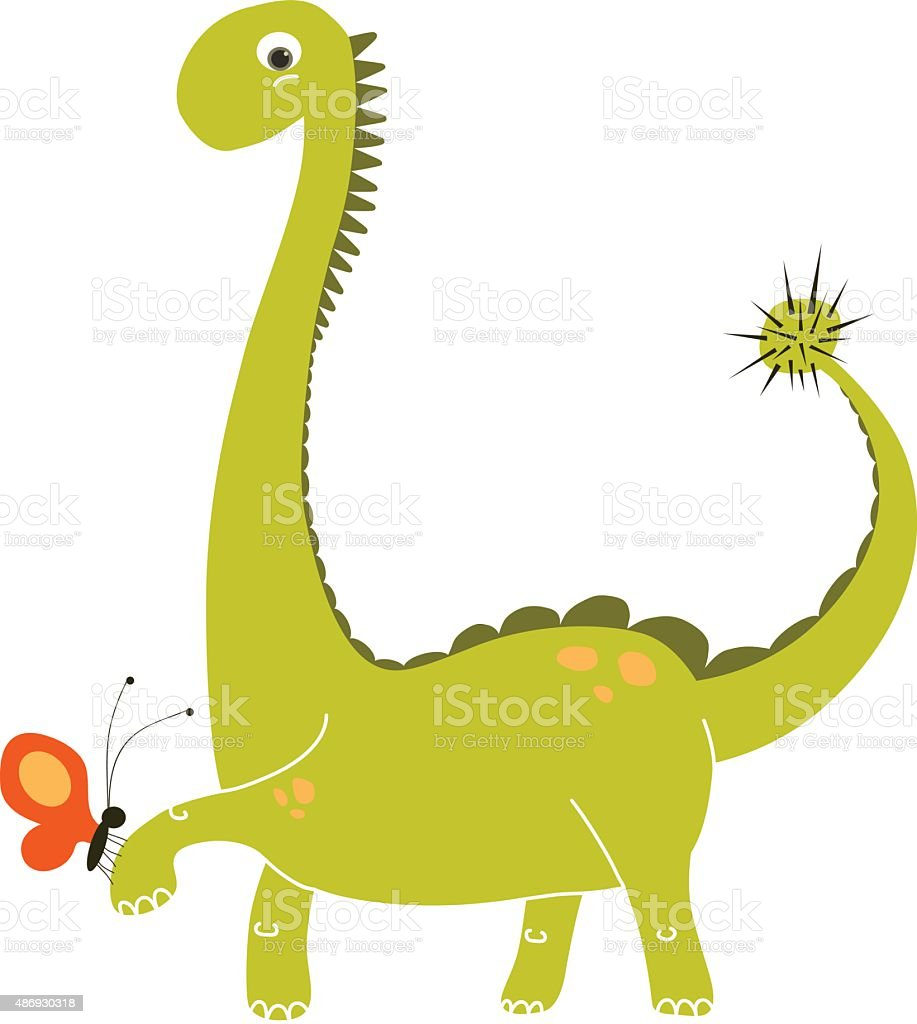 cute green dinosaur cartoon holding a small red butterfly stock