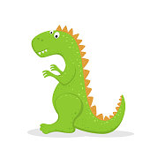 Cute green dinosaur isolated on white background. Funny cartoon character, illustration.