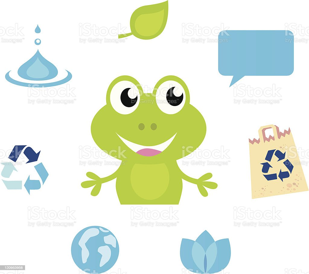 Cute green Frog character, Ecology, Nature and Water icons & symbols royalty-free stock vector art
