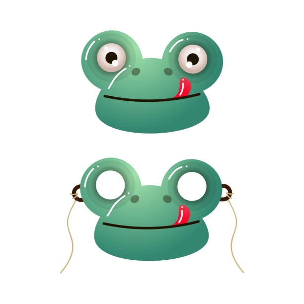 Cute green frog kid mask with red tongue Cute green frog kid mask with red tongue and eyes or holes. Cartoon style. Vector illustration on white background amphibians stock illustrations