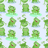 Cute green frogs seamless pattern.