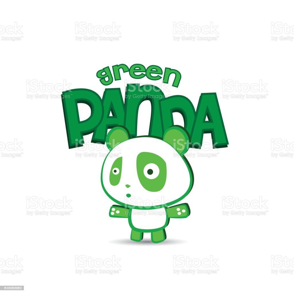 Cute Green Panda Character Design Stock Vector Art & More ...  Cute Green Pand...