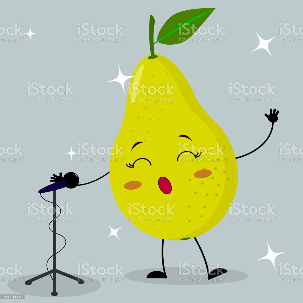 Cute green pear smiley in a cartoon style sings into the microphone. vector art illustration