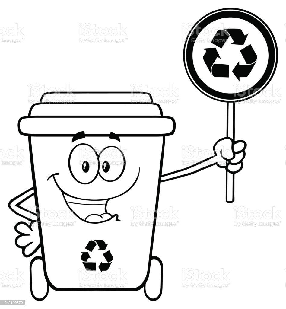 cute green recycle bin cartoon mascot character holding a