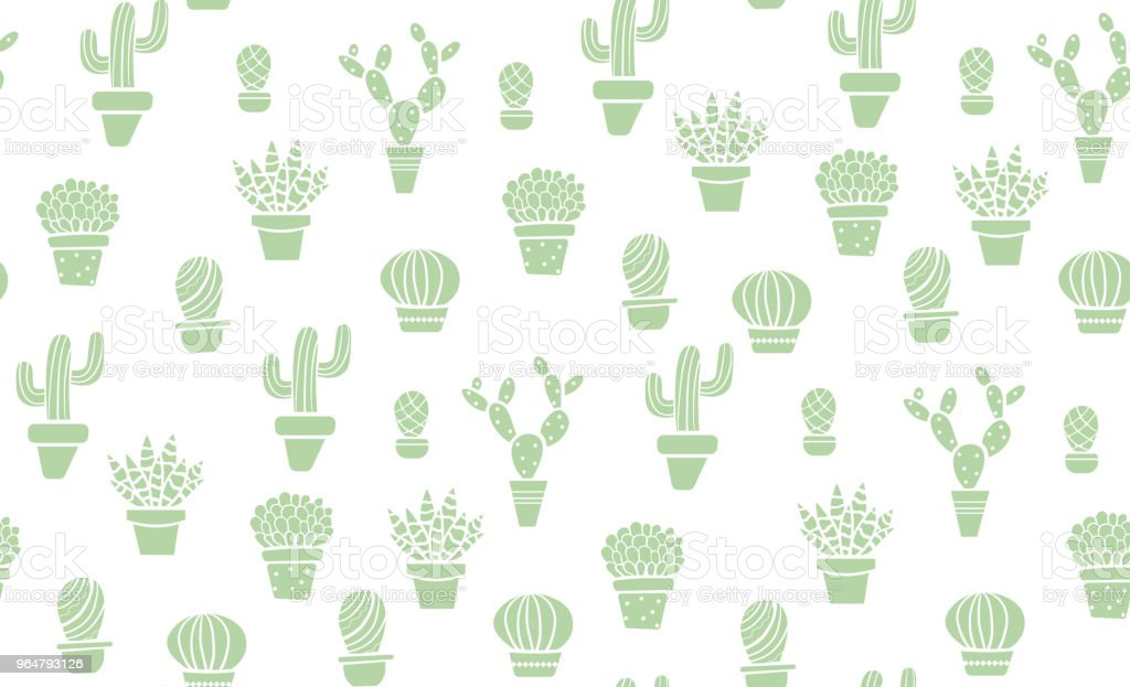 Cute green seamless cactus pattern royalty-free cute green seamless cactus pattern stock vector art & more images of art