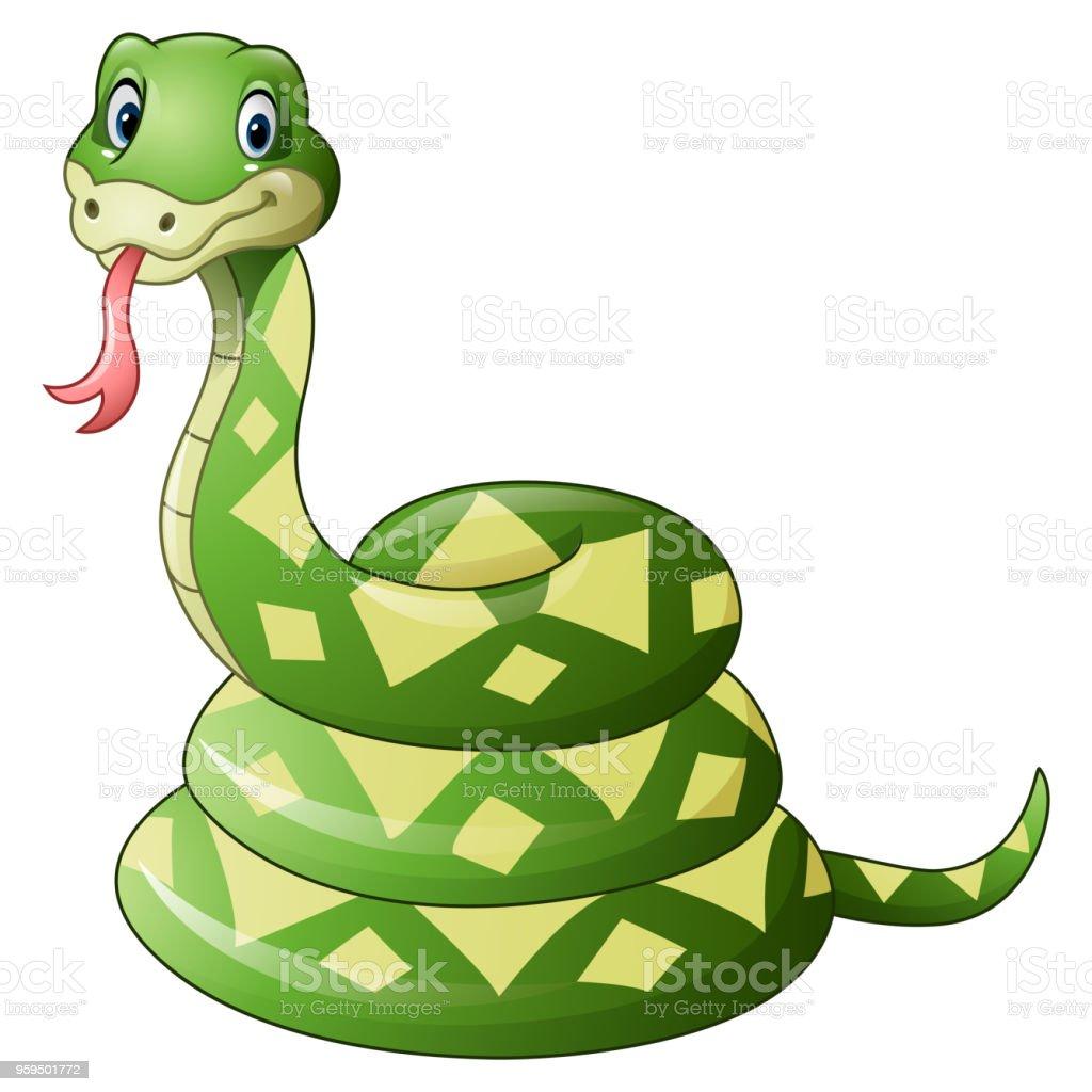Dessin Animé Serpent vert serpent dessin animé mignon – cliparts vectoriels et plus d
