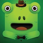 Cute green tree frog cartoon