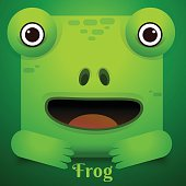 Cute green tree frog cartoon/Vector Frog Character Icon square style