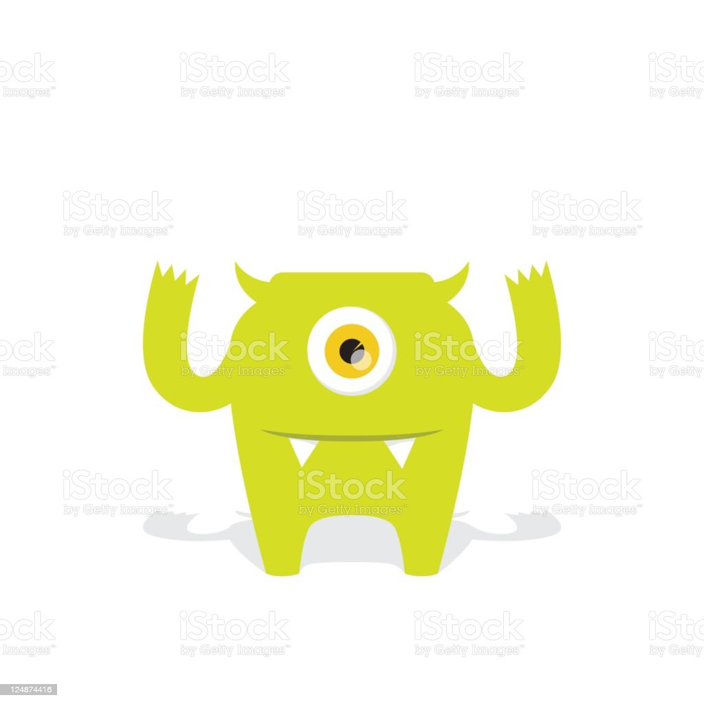 Cute Green Vector Monster Character with One Eye and Fangs royalty-free stock vector art