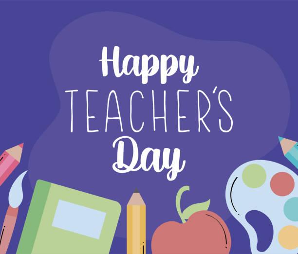 cute greeting card happy teacher day cute greeting card happy teacher day vector illustration design thank you teacher stock illustrations