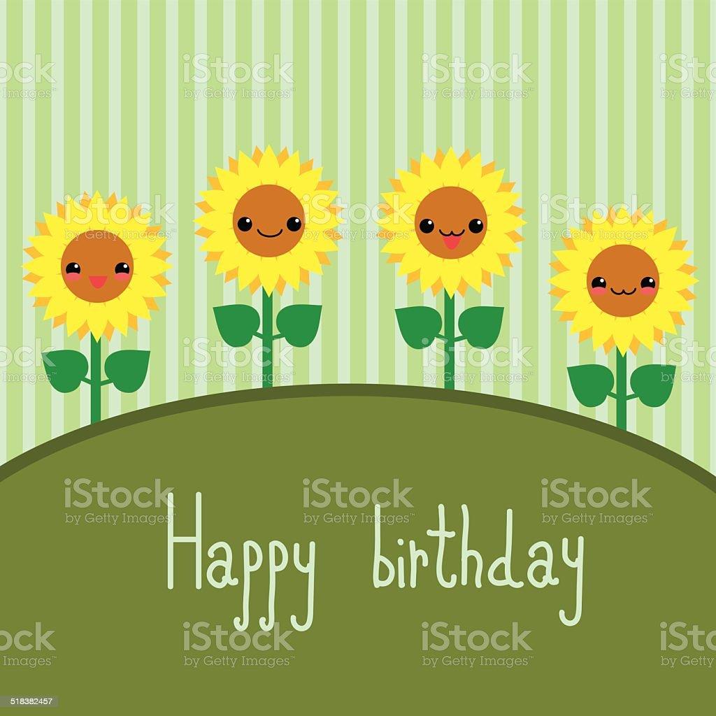 Cute Greeting Card With Cartoon Sunflowers Kawaii Japanese Style Royalty Free