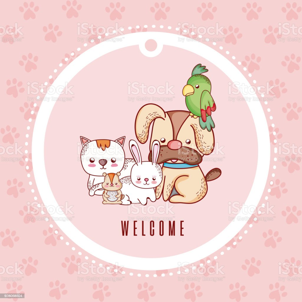 Cute Greeting Card With Pets Cartoon Stock Vector Art More Images