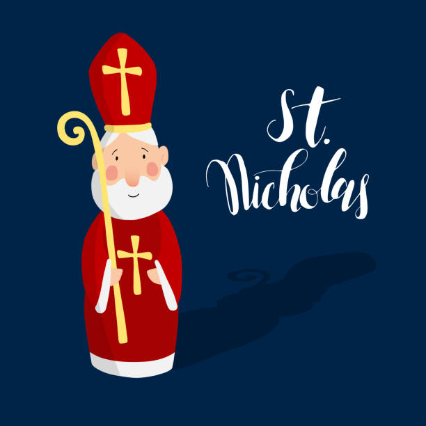 stockillustraties, clipart, cartoons en iconen met cute greeting card with saint nicholas with mitre. - mijter