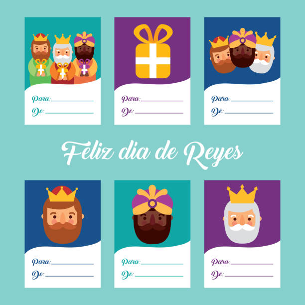 cute greeting cards invitation with three magi bringing gifts and blank paper vector illustration - getty stock illustrations