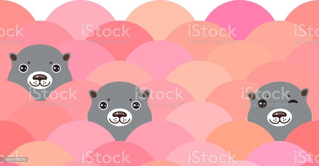 Tête de mignon de loutres gris dans l'eau rose, motif de vagues de mer, arrière-plan du modèle carte bannière. Visages de Kawaii. Vector - Illustration vectorielle