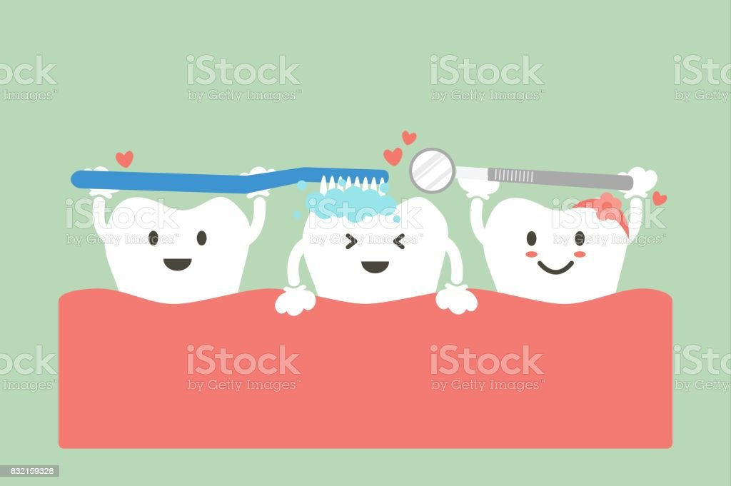 cute group friend of tooth are brushing teeth with heart vector art illustration