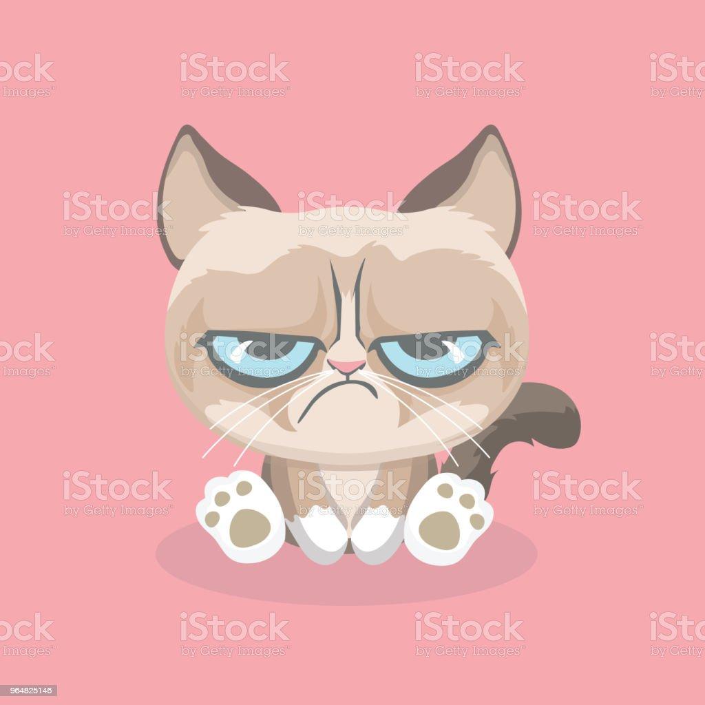 Cute grumpy cat. royalty-free cute grumpy cat stock vector art & more images of anger