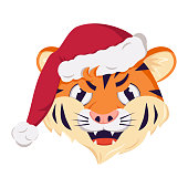 istock Cute grumpy tiger character, simbol of New Year in a red Christmas cap. Wild animals of africa, face with angry emotions, festive decoration 1318995547