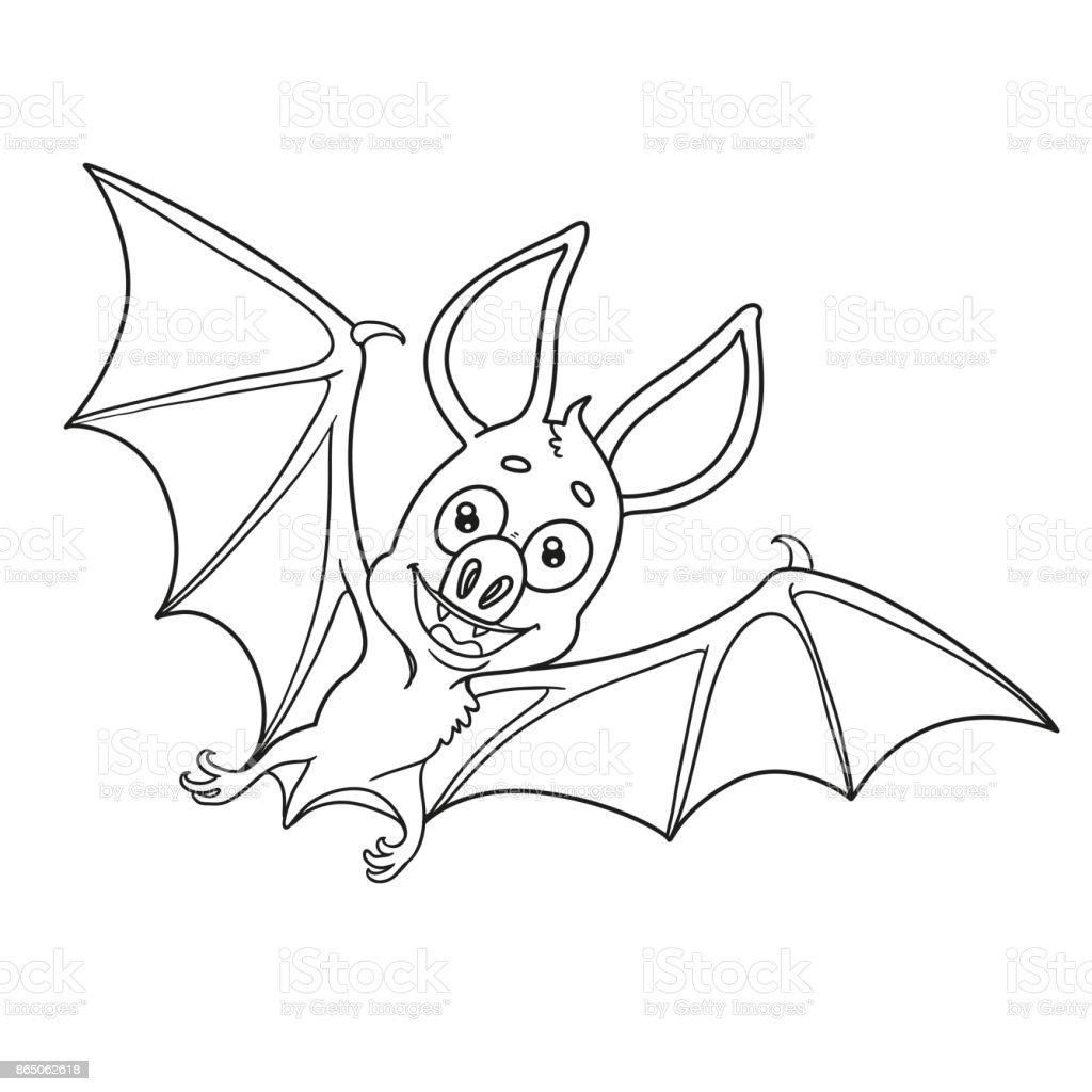 Mignon Chauvesouris Halloween Décrites Pour Coloriage Vecteurs