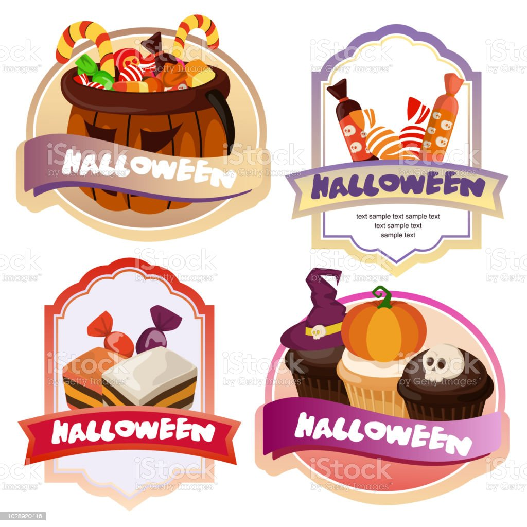 cute halloween candy treats cute label royalty free cute halloween candy treats cute label stock