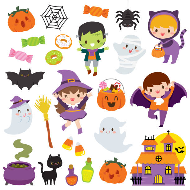 cute halloween clipart set - halloween candy stock illustrations