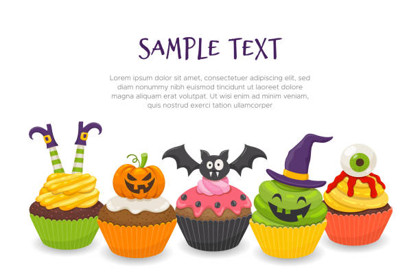 cute halloween cupcakes background - halloween candy stock illustrations