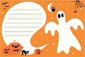 Cute halloween ghost invite with holiday pumpkins and other halloween icons. A speech bubble for copy to be applied - ideal for your Halloween invites.