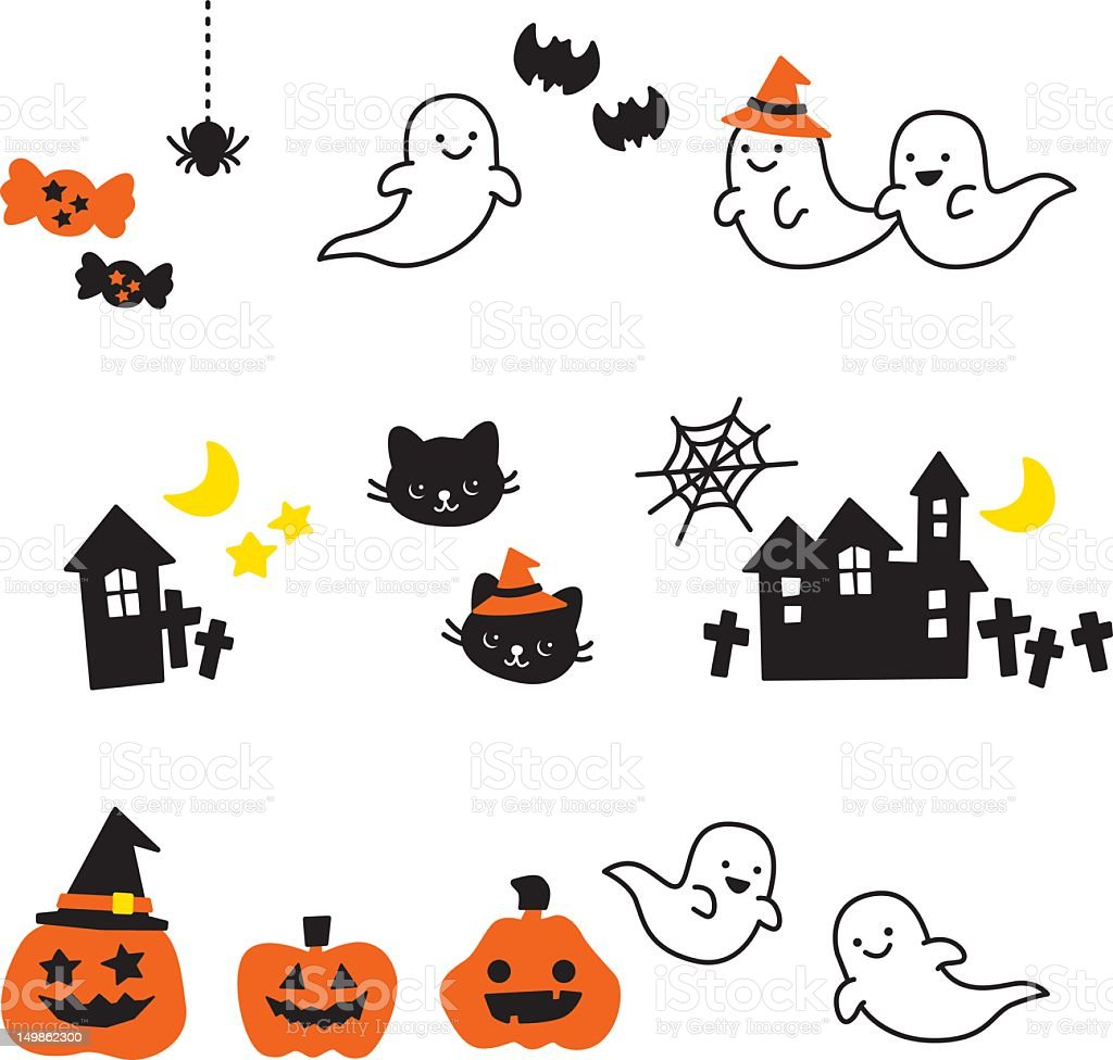 cute halloween icons ghost cat pumpkin candy grave yard stock vector