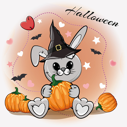 Cute Halloween illustration with a cartoon gray rabbit in a witch hat with pumpkins on a cute orange background. Cartoon vector illustration.