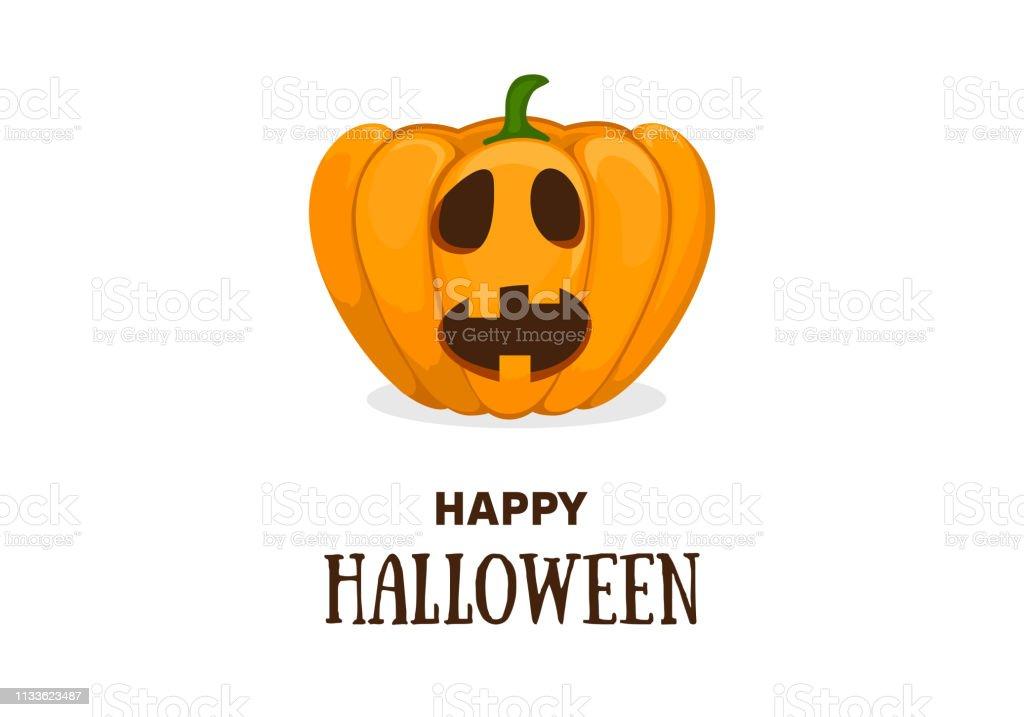 Pompoen Halloween Sjabloon.Cute Halloween Uitnodiging Of Wenskaart Sjabloon Met