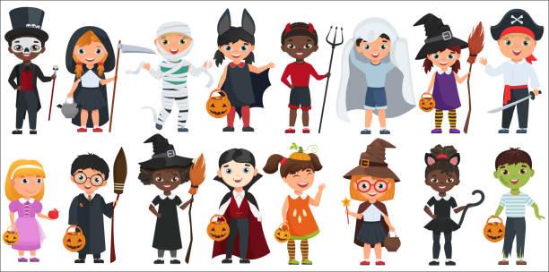 stockillustraties, clipart, cartoons en iconen met cute halloween kleine kinderen set vector illustratie. - kostuum