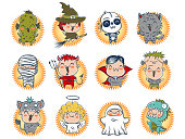 Vector set icons children with costumes for Halloween. Cute Halloween monsters.