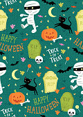 Cute Halloween Mummy Character Seamless Vector Pattern