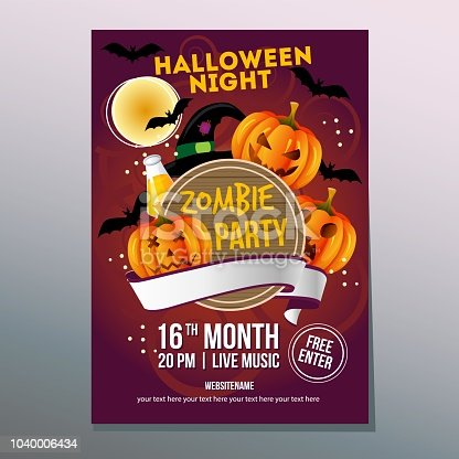 istock cute halloween night poster with funny pumpkin face 1040006434