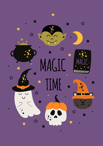 cute halloween poster with magic elements