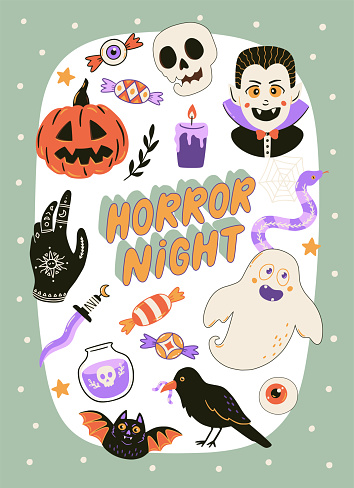 Cute Halloween print with cartoon elements and lettering. Hand drawn vector illustration.