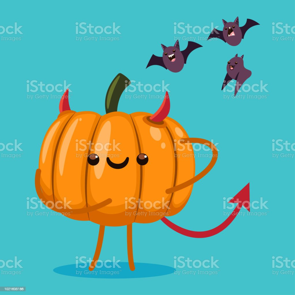 cute halloween pumpkin character in a devil costume and bats vector