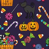 Scalable vectorial image representing a cute halloween seamless.