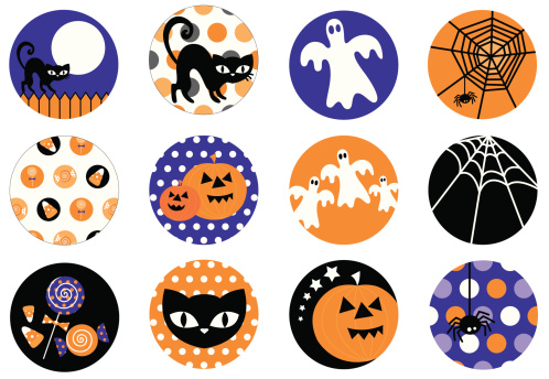 Cute Halloween Symbol and Icon Set
